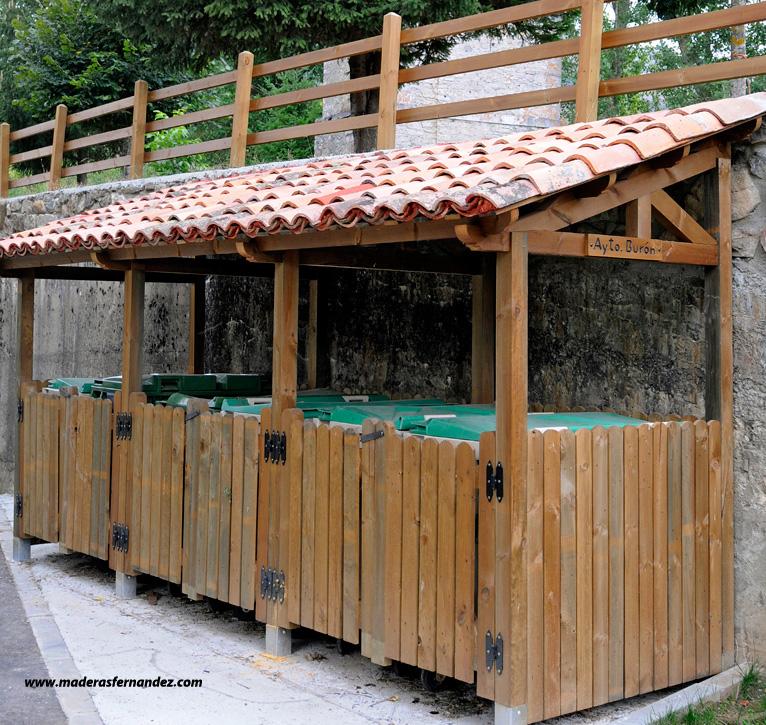 Oculta contenedores de madera - Tejado a un agua ...